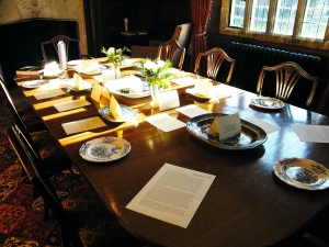 Christmas dinner table laid a la francaise in the Oak Room at Chawton House Library. ©Come Step Back In Time