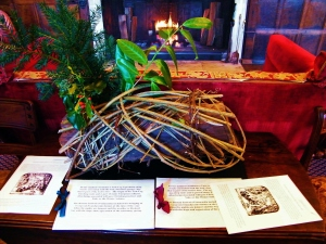 Smaller version of the traditional Yule log at Chawton House Library. ©Come Step Back In Time