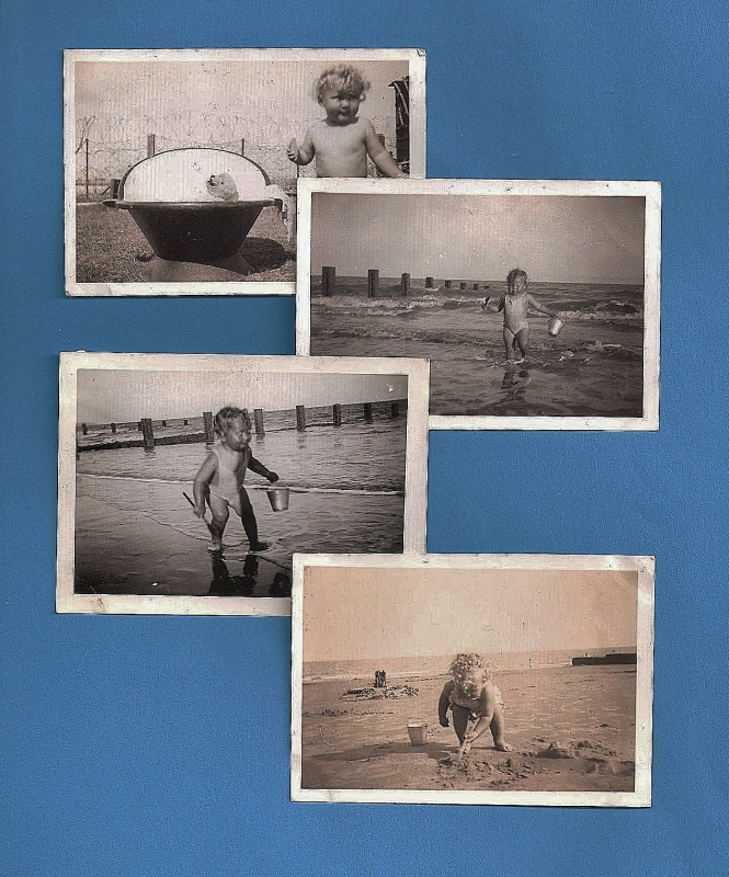 In the Summer of 1946, my family were finally allowed to return to their holiday bungalow in Hythe. My mother was a toddler at the time and this was her first experience of the seaside. Top left she is pictured giving her favourite teddy bear a bath. Notice behind the garden boundary is covered in barbed wire, left over from wartime. The other 3 photographs show my mother on Hythe beach enjoying a splash around in the sea. ©Come Step Back In Time