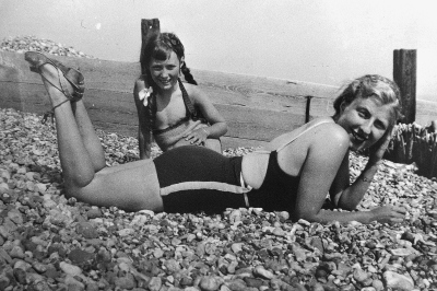 My late grandmother and her niece on Hythe beach in the 1930s, before war broke-out in 1939. ©Come Step Back In Time