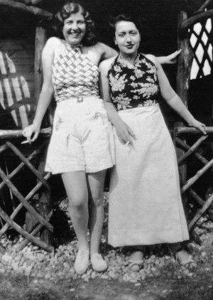 My grandmother with her best friend in the garden at the Hythe bungalow. ©Come Step Back In Time