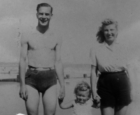 My grandparents and my mother. All safely reunited after World War Two and having fun on the beach at Hythe. ©Come Step Back In Time