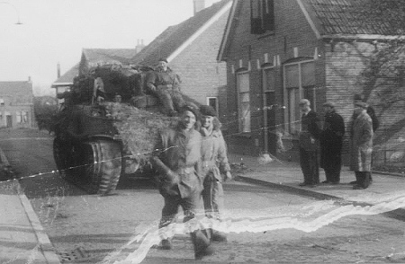 Sherman tanks on the streets of Hengelo following liberation. Image courtesy of Eric Heijink (http://www.secondworldwar.nl/hengelo-1940-1945.php)