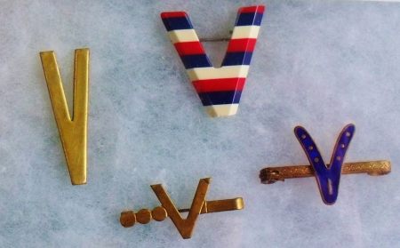 V.E. Day commemorative pins, 1945. Private collection. ©Come Step Back In Time