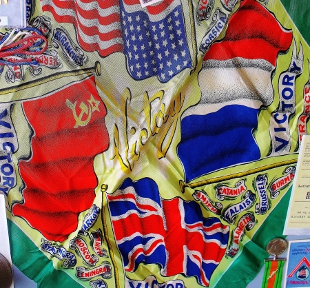 V. E. Day commemorative silk scarf. Private collection. ©Come Step Back In Time