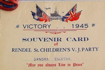 Souvenir invitation for a children's V.J. party, 1945. Private collection. ©Come Step Back In Time