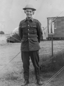 My grandfather in camp, c.1941. Location possibly Molash, Kent. ©Come Step Back In Time (The Langley Family Archive)