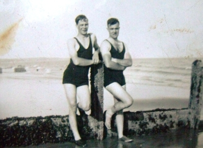 My late grandfather (left) with a friend at Hythe beach, Kent before World War Two. ©Come Step Back In Time