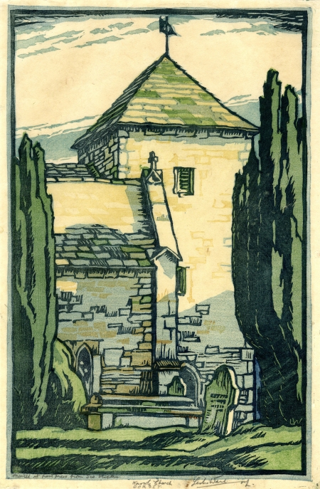 Knowle Church, Dorset by Leslie Moffat Ward. (Colour linocut, 288 x 186mm). Signed. Image courtesy of private collector Stuart Southall.