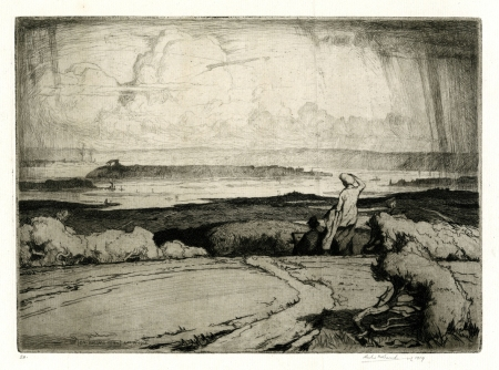 'On Ballard Down' (1914) by Leslie Moffat Ward. (Etching and aquatint, 200 x 275mm). Signed and dated 1919, numbered 20.  Image courtesy of private collector Stuart Southall.
