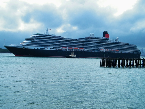 Queen Victoria, Sunday 3rd May, 2015, sailing past Mayflower Park, Southampton to join Queen Mary 2 and Queen Victoria. ©Come Step Back In Time