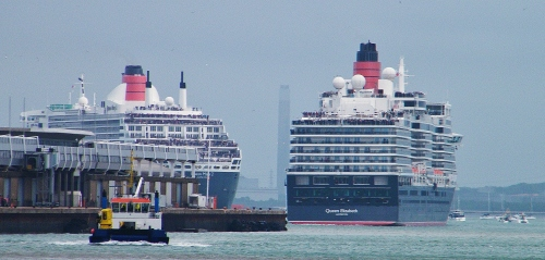Queen Mary 2 and Queen Elizabeth set sail, Sunday 3rd May, 2015. ©Come Step Back In Time