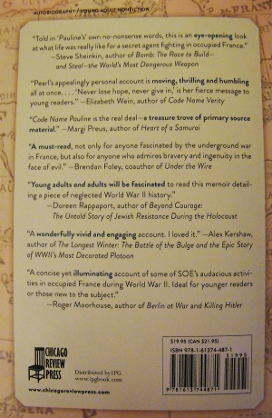 A selection of reviewer comments from the back cover of Code Name Pauline.