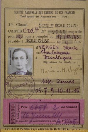 Pearl's railway pass that she used while working as a courier and that identified her as Marie Vergès . ©Code Name Pauline: Memoirs of a World War II Special Agent by Pearl Witherington Cornioley with Hervé Larroque, edited by Kathryn J. Atwood. Chicago Review Press, 2013.