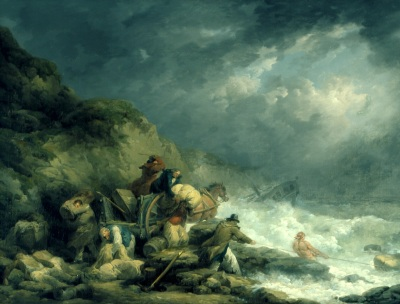 'The Wreckers' by George Morland. (Oil on canvas, 1791). On display at Shorelines exhibition. ©Southampton Art Gallery