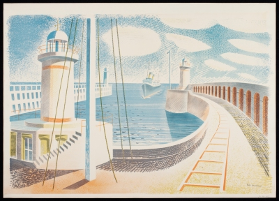 'Newhaven Harbour' by Eric Ravilious (colour lithograph, 1937). Exhibited at Shorelines exhibition ©V&A CIRC.39-1937