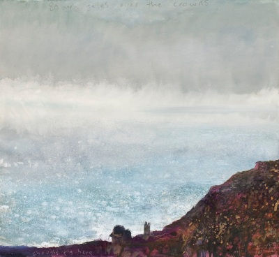 '80 mph gales over the crowns, Botallack, Cornwall, December' by Kurt Jackson. (mixed media on paper). On display at Shorelines exhibition. ©Kurt Jackson