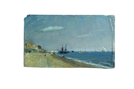 'Brighton beach, with colliers' by John Constable (oil painting, 1824, V&A591-1888). Exhibited at Shorelines exhibition ©Victoria and Albert Museum, London