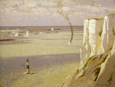 'Beachy Head, attack on convoy' by Norman Wilkinson (oil painting, 1942-44) Exhibited at Shorelines exhibition ©NMM BHC1599 National Maritime Museum, Greenwich, London. Copyright Norman Wilkinson Estate