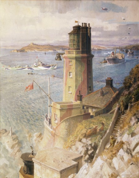 'Convoy arriving off St. Anthonys Lighthouse, Falmouth'' by John Platt. (Oil on canvas, 1942). Exhibited at Shorelines exhibition. ©National Maritime Museum, Greenwich, London. This is an interpretation of an Atlantic convoy arriving at Falmouth, Cornwall, during 1942. Falmouth saw considerable activity between 1942 and 1943, since there was a naval base on Beacon Hill, and the Battle of the Atlantic was underway. Saint Anthony's Head Lighthouse, situated at the eastern side of the entrance to Falmouth Harbour, warns ships of the Black Rock in the centre of the channel into Falmouth Harbour and of the Manacles, the rocks south of the harbour entrance.