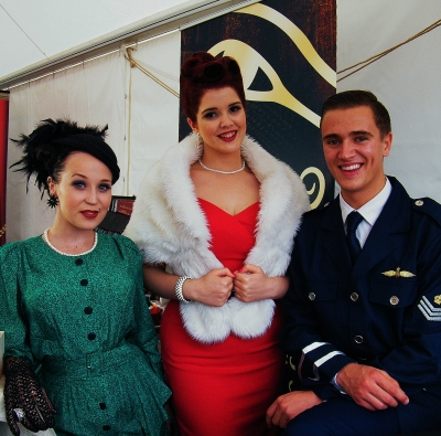 L-R = Honey B'Zarre, Miss Scarlett Luxe and Bryce Hunt for Vintage Hair Lounge.