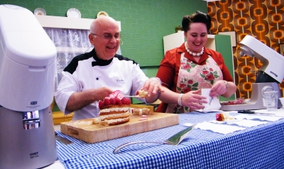 Great British Bake-Off contestant, Brendan Lynch demonstrating in The Kenwood Kitchen Theatre. ©Come Step Back In Time