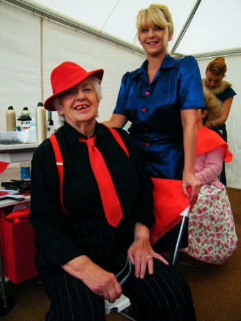 Gloria with one of her former students, Mellisa Holme. Mellisa was working at Vintage Hair Lounge's pop-up salon at Goodwood Revival 2015. Mellisa now runs her own salon on the Isle of Wight, Six Hair Studio and Upper Six, Ryde, Isle of Wight. ©Come Step Back In Time