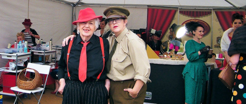 Gloria and Sharon Holloway in their pop-up vintage hair and beauty salon at Goodwood Revival 2015. ©Come Step Back In Time