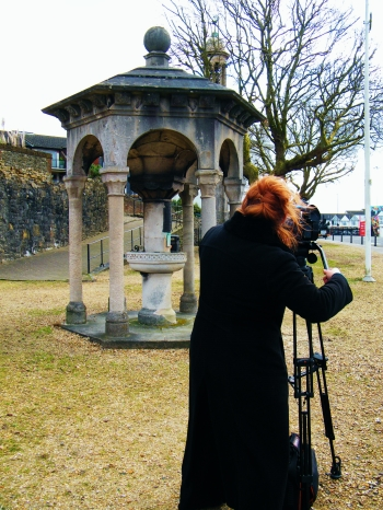Shan Robins filming at the Stella Memorial, Southampton. ©Come Step Back In Time