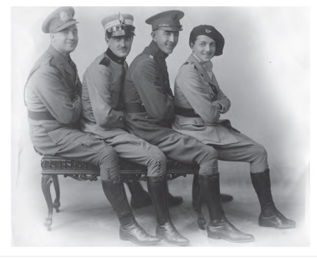 Elsie Janis and 'her boys', dressed as World War One veterans from the US, Britain and France. In 1920, Elsie reprised her wartime experiences in a show. Image courtesy of Kerrie Hollihan. Author's own collection.