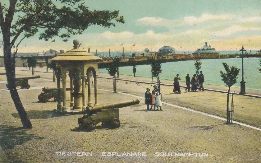 Postcard, issued in 1903, showing the Memorial on Western Esplanade, Southampton. Postcards of local views and landmarks of Southampton were popular at the time. This postcard was photographed by Whitfield Cosser of Hanover Buildings, Southampton and was a particular popular one.