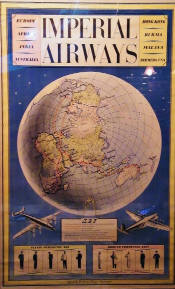 Advertising poster for Imperial Airways (1939). On display at Solent Sky Museum, Southampton.